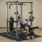 Body-Solid Pro Power Rack with Lat Attach. + Universal Bench + Weight