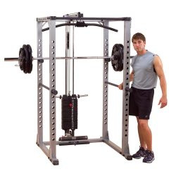 Body-Solid power rack + Lat Attach. + Weight